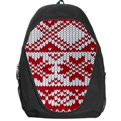 Crimson Knitting Pattern Background Vector Backpack Bag by BangZart