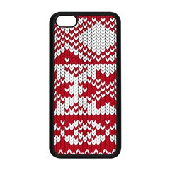 Crimson Knitting Pattern Background Vector Apple Iphone 5c Seamless Case (black) by BangZart