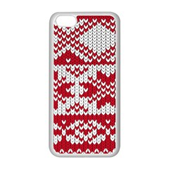 Crimson Knitting Pattern Background Vector Apple Iphone 5c Seamless Case (white) by BangZart