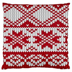 Crimson Knitting Pattern Background Vector Large Flano Cushion Case (two Sides) by BangZart