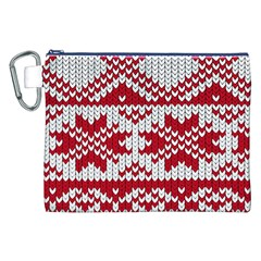 Crimson Knitting Pattern Background Vector Canvas Cosmetic Bag (xxl) by BangZart