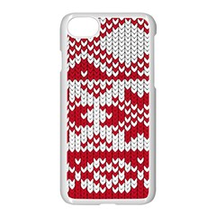 Crimson Knitting Pattern Background Vector Apple Iphone 7 Seamless Case (white) by BangZart