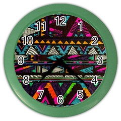 Cute Hipster Elephant Backgrounds Color Wall Clocks by BangZart
