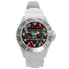 Cute Hipster Elephant Backgrounds Round Plastic Sport Watch (l) by BangZart
