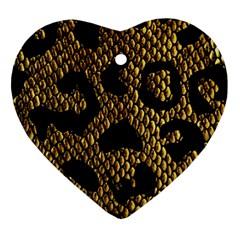 Metallic Snake Skin Pattern Heart Ornament (two Sides) by BangZart
