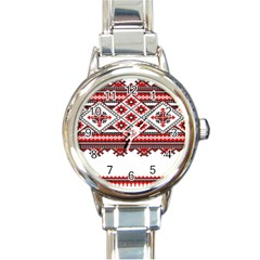 Consecutive Knitting Patterns Vector Round Italian Charm Watch by BangZart