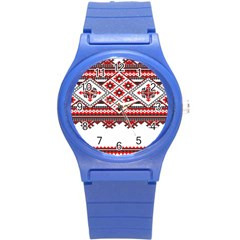 Consecutive Knitting Patterns Vector Round Plastic Sport Watch (s) by BangZart