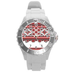 Consecutive Knitting Patterns Vector Round Plastic Sport Watch (l) by BangZart