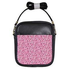Abstract Pink Squares Girls Sling Bags by BangZart