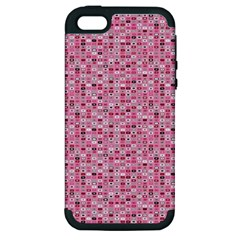 Abstract Pink Squares Apple Iphone 5 Hardshell Case (pc+silicone)