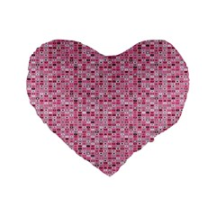 Abstract Pink Squares Standard 16  Premium Flano Heart Shape Cushions by BangZart