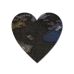 World Map Heart Magnet by BangZart