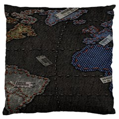 World Map Standard Flano Cushion Case (one Side) by BangZart