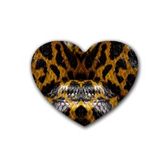 Textures Snake Skin Patterns Rubber Coaster (heart)  by BangZart