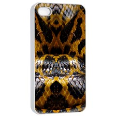 Textures Snake Skin Patterns Apple Iphone 4/4s Seamless Case (white) by BangZart