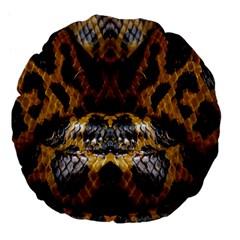 Textures Snake Skin Patterns Large 18  Premium Flano Round Cushions by BangZart