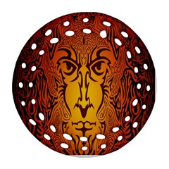 Lion Man Tribal Round Filigree Ornament (two Sides) by BangZart