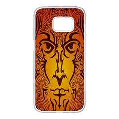 Lion Man Tribal Samsung Galaxy S7 Edge White Seamless Case