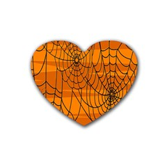 Vector Seamless Pattern With Spider Web On Orange Rubber Coaster (heart)  by BangZart