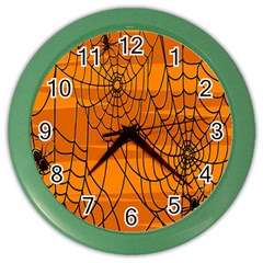 Vector Seamless Pattern With Spider Web On Orange Color Wall Clocks by BangZart