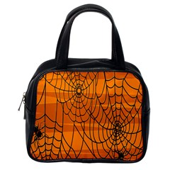 Vector Seamless Pattern With Spider Web On Orange Classic Handbags (one Side) by BangZart