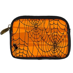 Vector Seamless Pattern With Spider Web On Orange Digital Camera Cases by BangZart