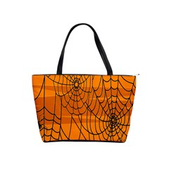Vector Seamless Pattern With Spider Web On Orange Shoulder Handbags by BangZart