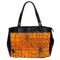 Vector Seamless Pattern With Spider Web On Orange Office Handbags (2 Sides)  by BangZart