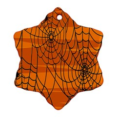 Vector Seamless Pattern With Spider Web On Orange Snowflake Ornament (two Sides) by BangZart