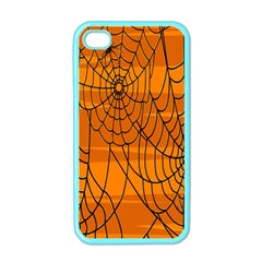 Vector Seamless Pattern With Spider Web On Orange Apple Iphone 4 Case (color) by BangZart