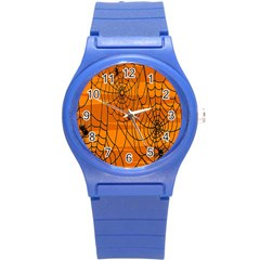 Vector Seamless Pattern With Spider Web On Orange Round Plastic Sport Watch (s) by BangZart