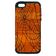 Vector Seamless Pattern With Spider Web On Orange Apple Iphone 5 Hardshell Case (pc+silicone) by BangZart