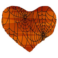 Vector Seamless Pattern With Spider Web On Orange Large 19  Premium Heart Shape Cushions by BangZart