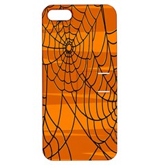 Vector Seamless Pattern With Spider Web On Orange Apple Iphone 5 Hardshell Case With Stand by BangZart