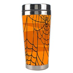 Vector Seamless Pattern With Spider Web On Orange Stainless Steel Travel Tumblers by BangZart
