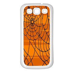 Vector Seamless Pattern With Spider Web On Orange Samsung Galaxy S3 Back Case (white) by BangZart