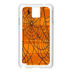 Vector Seamless Pattern With Spider Web On Orange Samsung Galaxy Note 3 N9005 Case (white) by BangZart