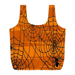 Vector Seamless Pattern With Spider Web On Orange Full Print Recycle Bags (l)  by BangZart