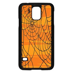 Vector Seamless Pattern With Spider Web On Orange Samsung Galaxy S5 Case (black) by BangZart