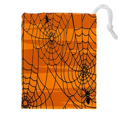 Vector Seamless Pattern With Spider Web On Orange Drawstring Pouches (xxl) by BangZart