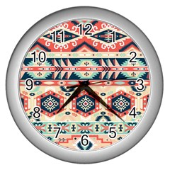 Aztec Pattern Copy Wall Clocks (silver)  by BangZart