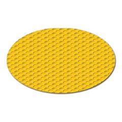 Yellow Dots Pattern Oval Magnet by BangZart