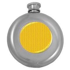Yellow Dots Pattern Round Hip Flask (5 Oz) by BangZart