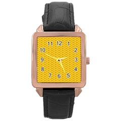 Yellow Dots Pattern Rose Gold Leather Watch  by BangZart