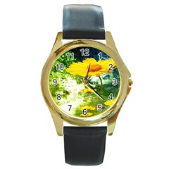 Yellow Flowers Round Gold Metal Watch by BangZart