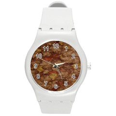 Brown Texture Round Plastic Sport Watch (m) by BangZart