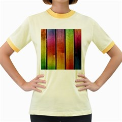 Colourful Wood Painting Women s Fitted Ringer T-Shirts