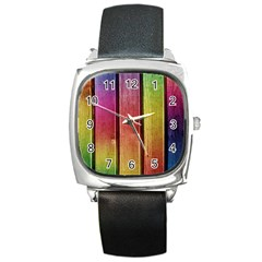 Colourful Wood Painting Square Metal Watch by BangZart
