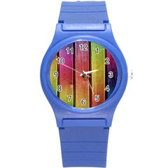 Colourful Wood Painting Round Plastic Sport Watch (s) by BangZart