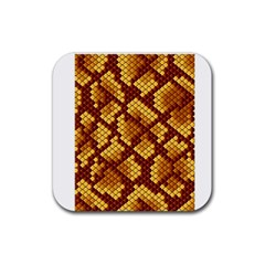 Snake Skin Pattern Vector Rubber Square Coaster (4 Pack)  by BangZart